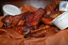 Marinated, slow smoked wings at Smoke on the Water BBQ in Elkins, WV